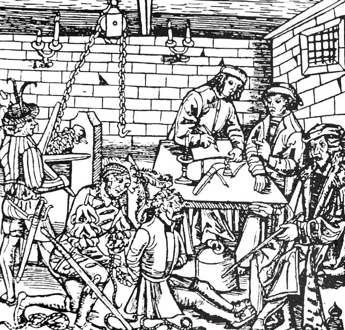 Útrpné právo I. - rytina z 16. století