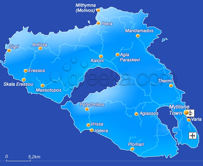 Lesbos (Lesvos) - mapa